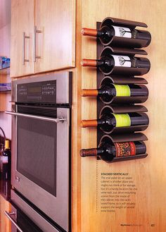 This is an inexpensive project ($20 or less). I love how they used PVC pipe to create this wine bottle holder. Brilliant!