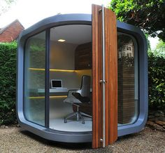 I want this for my garden.  OfficePOD is a prefab home office unit that provides nearly 7′ x 7′ of office space and storage in a curvy, cont...