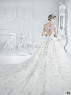 OK-love hair encrusted with all that bling and necklace-over-back look. Extremely old glamour, to me. The skirt sucks though... I want glamour, not drag. Luxurious White Organza Wedding Dress $2037.28