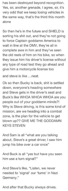 Steve's driving the language Avengers Memes, Marvel Memes, Marvel Dc Comics, Marvel Avengers, Bucky And Steve, Bucky Tony, Fangirl, Fandoms, Marvel Actors