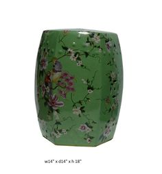 Chinese Green Color Hand Painted Flower Bird Porcelain Hexagon Stool vs684