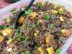 Red Quinoa Salad with Roasted Butternut Squash, Dried Cranberries, and ...