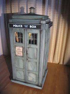Doctor Who Tardis cake - you can see inside and thanks to clever use of mirrors, etc. it actually appears bigger on the inside.  See web page for link to site with more pictures and exact details on how it was created.  Final product weighed about 50 pounds.