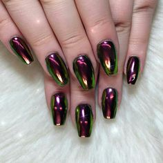 green and burgundy metallic nail art