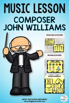 Composer John Williams Music Lesson with Rhythm Activities will help students to understand, identify, Express and Relate to John Williams movie music through Beat and Rhythm Activities. Music Education Activities, Movement Activities, Physical Education, Waldorf Education, Health Education, Preschool Music Activities, Kindergarten Music, Learning Activities, Music Classroom