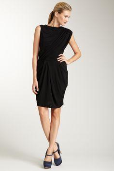 Asymmetric Ruched Shoulder Draped Dress