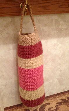 Crocheted plastic bag holder