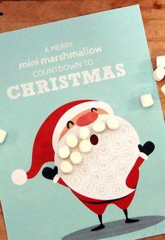 Mini Marshmallow Christmas Countdown Santa Calendar // Free Printable