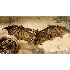 steampunk-esque bat wall hanging. yes and please.