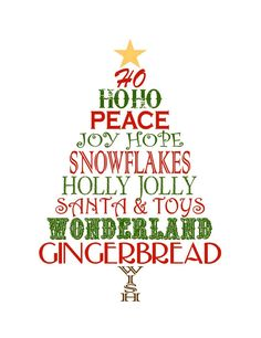 FREE printable Christmas Tree Word Art. Would look really cute in a Globecraft & Piccolo bubble DIY ornament or bubble frame @ www.PiccoloDecor.com #free #christmas #art