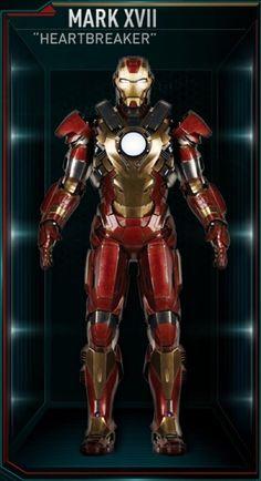 "Iron Man Movie Armors: MARK XVII ""Heartbreaker"" (Powerful oversized Unibeam fires narrow or wide beams and generates a repulsor shield)"