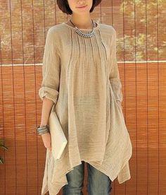 This looks really elegant but comfortable - Crinkle Chest Irregular Hem Linen Tunic Look Fashion, Womens Fashion, Latest Fashion, Fashion Trends, Linen Tunic, Cotton Linen, Mode Hijab, Linen Dresses, Baggy Dresses