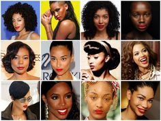 red lip/black women/gorgeous