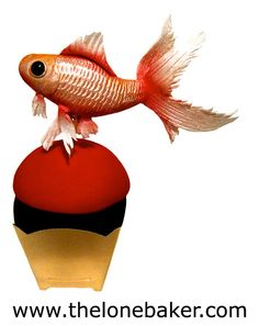 *SUGAR ART ~ Gold Fish Cupcake (fondant fish tutorial) by The Lone Baker, via Flickr