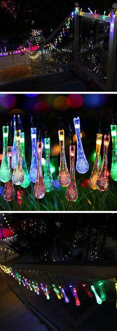 Multicolor Solar Outdoor String Lights | Cheap Outdoor Lighting Ideas for Weddings | Easy Garden Lighting Ideas for Backyards