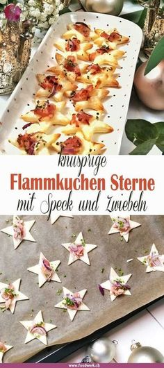 Christmas aperitif snacks for the whole family - Almost everyone likes tarte flambée. Cut out small stars with puff - Easter Recipes, Brunch Recipes, Fall Recipes, Appetizer Recipes, Recipes Dinner, Keto Recipes, Party Finger Foods, Snacks Für Party, Appetizers For Party