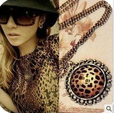 Fashion vintage leopard print disc crystal gem necklace 2016 Summer Cain Pendant Necklaces Jewelry wholesale