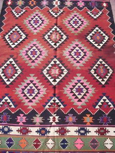 Turkish Anatolian Kilim Rug Vegitable and Natural Color Wool on Wool 108,3 by  67 (275cm by 170cm). $569.00, via Etsy.
