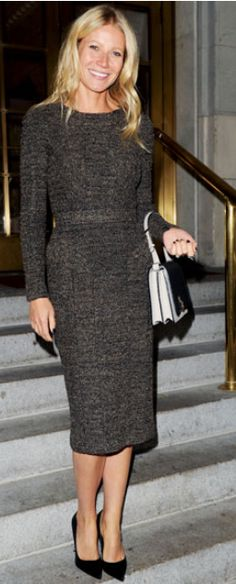 Gwyneth Platrow: Dress - Burberry Prorsum Purse - Victoria Beckham Burberry Prorsum Stretch-Tweed Dress.