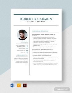 FREE Electrical Engineer Fresher Resume Template - Word (DOC) | PSD | InDesign | Apple (MAC) Apple (MAC) Pages | Publisher | Illustrator | Template.net Resume Design Template, Cv Template, Resume Format Free Download, Engineering Resume Templates, Resume Objective, Resume Cv, Word Doc, Electrical Engineering, Business Design