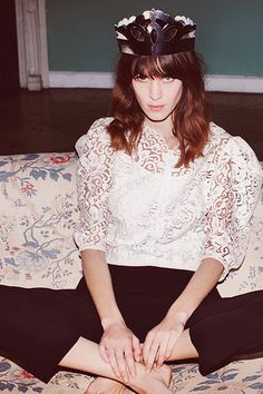 alexa chung in lace and a paper crown