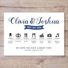 Wedding Timeline Printable Itinerary Program Sign
