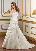 Sweetheart neckline, rouching, romantic drop waist. A super-flattering dress for only $998. Best Bridal Prices.