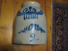 BLUE DECORATED STONEWARE Jar Jug Crock 2 Gallon Salt glazed Utilitarian Potter..
