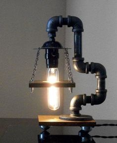Industrial Art Black Pipe Table Desk Lamp with by Store19 on Etsy