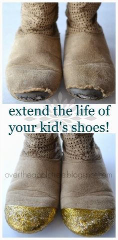 DIY shoe repair! Extend the life of your child's shoes with dimensional fabric paint!