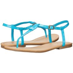 MIA Tonga Women's Sandals, Blue ($28) ❤ liked on Polyvore featuring shoes, sandals, flats, blue, blue flat shoes, t-strap flats, blue flats, strappy flats sandals and blue shoes