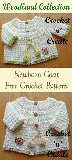 Woodland Baby Coat Free Crochet Pattern - Crochet 'n' Create Crochet Baby Sweaters, Crochet Baby Blanket Beginner, Crochet Baby Cardigan, Crochet Baby Clothes, Newborn Crochet, Baby Knitting, Crochet Bebe, Free Crochet, Crochet Motif