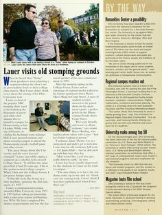 "Ohio Today, Winter 2001. ""Lauer visits old stomping grounds"" :: Ohio University Archives"