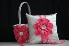 Fuchsia Wedding Basket Fuchsia Ring Bearer Pillow by AlexEmotions