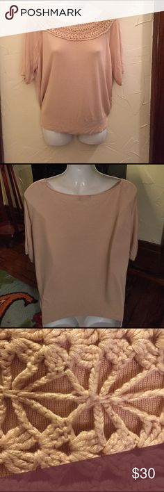 Short Sleeve Sweater The Limited Peach 100% Rayon Sweater. Fabric drapes beautifully. Gently worn, no holes, pills or stains. The Limited Sweaters Crew & Scoop Necks