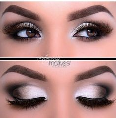Love this smokey eye with the shimmering white shadow