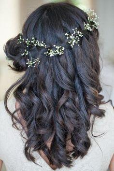 Cascading curls with fresh flowers - Dreamy Down 'dos - Wedding Hair 2014 - Wedding Blog | Ireland's top wedding blog with real weddings, wedding dresses, advice, wedding hair s...