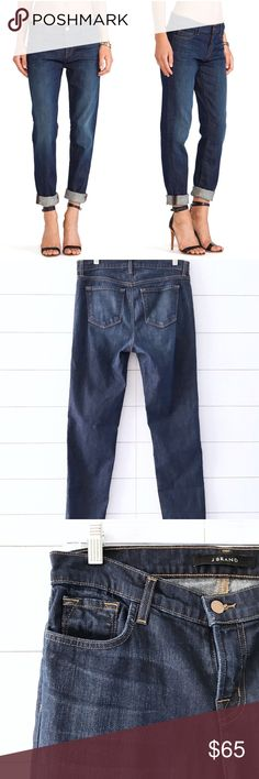 """J Brand Dark Side Slim Leg Jake Boyfriend Jeans J Brand jeans in excellent condition. Front/back pockets, center front zipper and button closure. Mid Rise.  Size: 26 Fabric: 98% cotton, 2% elastane Length: 40"""" Waist: 15.5"""" Front rise: 9.5"""" Inseam: 30.5"""" J Brand Jeans Boyfriend"""