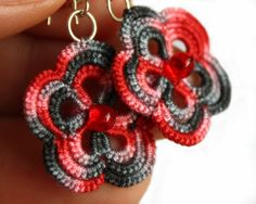 Tatted Lace earrings, flowers tatting, hand-dyed, red, grey,  sterling silver ear wires.