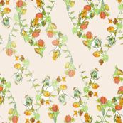 """""""spring peach"""" fabric by Wolfie and the Sneak."""
