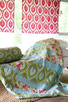 Amy Butler's Alchemy Organic Fabric with projects from Amy Butler's Blossom Magazine issue 1-Quilt to make with Belle fabrics                                                                                                                                                                                 More