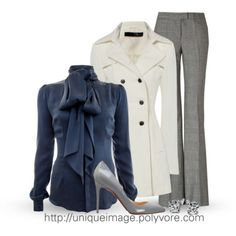 Corporate style- love the blouse. The trench is classic.