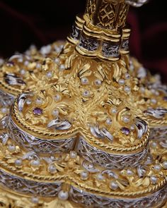 Details from festive ornate Chalice of highest artistic value. Particularly hard work made from pure silver, hundreds of natural pearls, semiprecious stones, gold-plated using method of electroplating. Byzantine Art, Hard Work, Pilgrims, Festive, Stones, Pearls, Workshop, Natural, Challenge Accepted