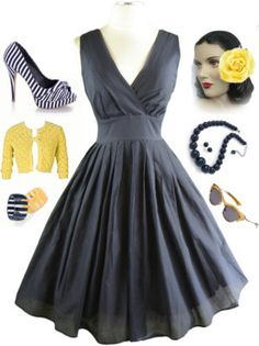 50s Style PINUP Navy SURPLICE Sun Dress w/FULL Skirt