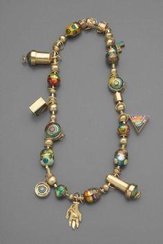 Necklace | William Harper. 'Magic Charm Beads'.  24kt, 14 kt gold, fine silver, sterling silver, cloisonne enamel.  1984
