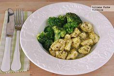 Pollo en salsa provenzal ligera con brócoli. Receta saludable