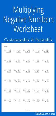 Multiplying Negative Numbers Worksheet - Customizable and Printable