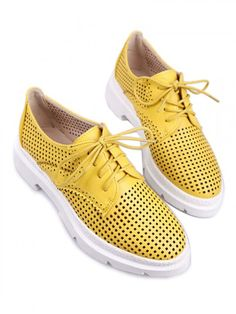 Yellow Cut Out Lace Up Platform Shoes