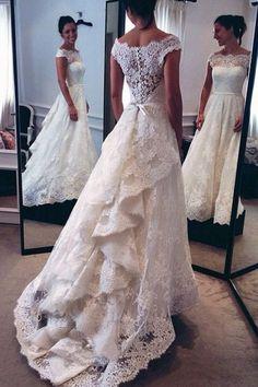 Off Shoulder Cap Sleeves Sweep Train Lace Wedding Dress With Sash Ruffles TN0090 #laceweddingdresses