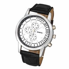 * Penny Deals * - Hemlock Men's Round Quartz Dial Business Watch PU Leather Band Silver Watches >>> More info could be found at the image url.